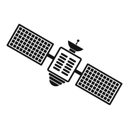 Satellite nero semplice icona isolato su sfondo bianco