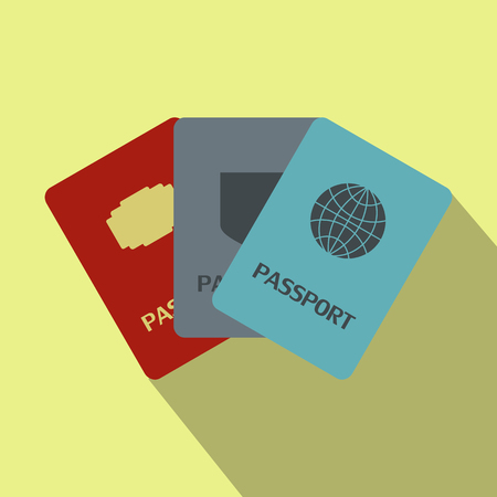 foreign nation: Three passports flat icon on a yellow background