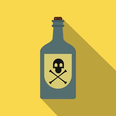 poison bottle: Botella de veneno icono de plano sobre un fondo amarillo