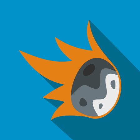 meteor: Falling meteor flat icon with shadow for web and mobile devices