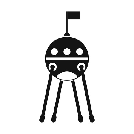 sputnik: Sputnik black simple icon isolated on white background