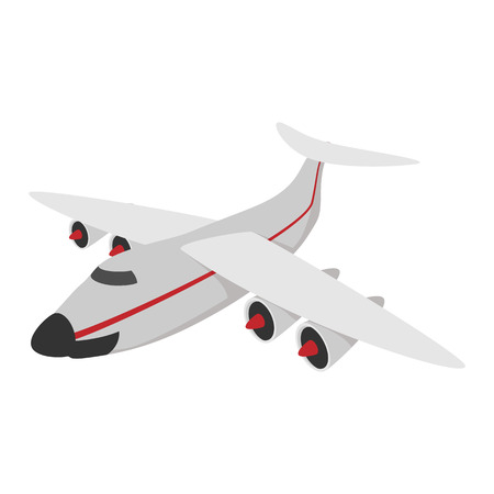 airplane landing: Airplane cartoon icon isolated on a white background Illustration