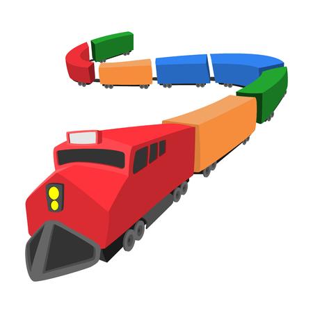 estacion de tren: Icono de locomotora de dibujos animados aislado en un fondo blanco