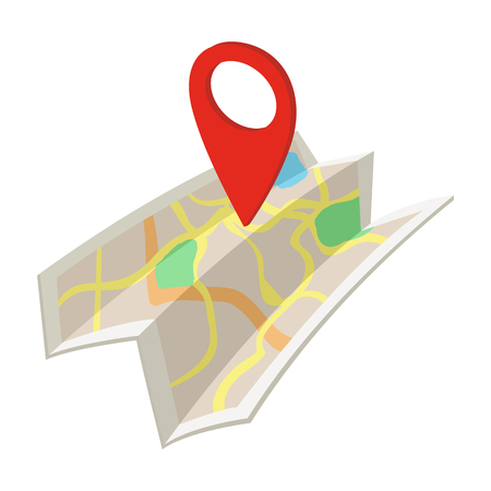 signs road: Map cartoon icon isolated on a white background