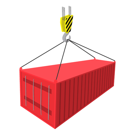 discharges: Crane lifts a red container with cargo cartoon icon on a white background