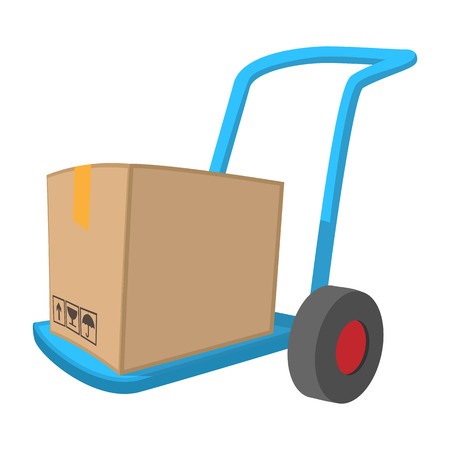hand cart: Blue hand cart with cardboard box cartoon icon on a white background