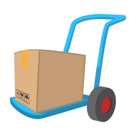 Blue hand cart with cardboard box cartoon icon on a white background Vektorové ilustrace