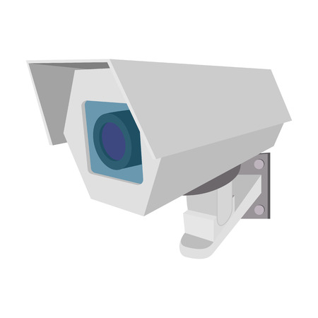 crime prevention: Surveillance camera cartoon icon on a white background Illustration