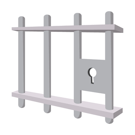 confined: Iron bars door with a locking mechanism cartoon icon on a white background