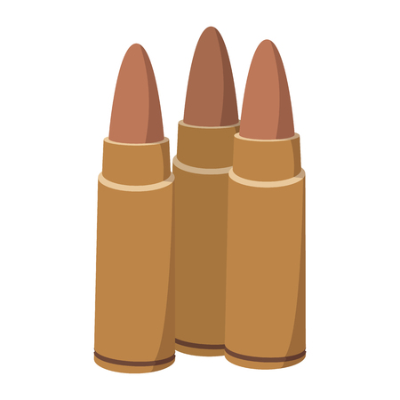Three bullets cartoon icon on a white background