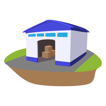 storage facility: Warehouse with open door cartoon icon on a white background