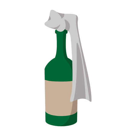 fueled: Glass bottle filled with gasoline, as so called Molotov Cocktail cartoon icon on a white background