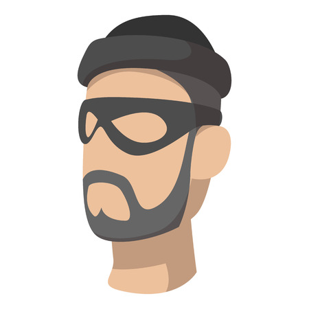 lawbreaker: Man in black mask and cap with a beard and mustache cartoon icon on a white background