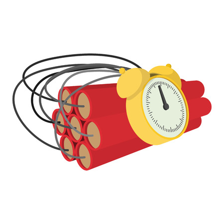 fire wire: Bomb with clock timer cartoon icon on a white background