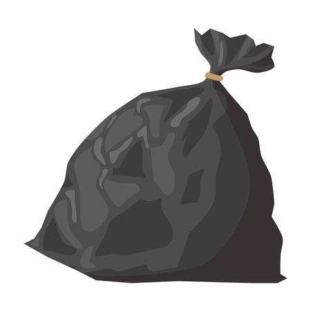 Full refuse plastic sack cartoon icon. Plastic trash bag on a white background Vectores