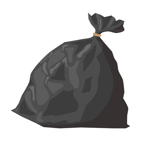 Full refuse plastic sack cartoon icon. Plastic trash bag on a white background Иллюстрация
