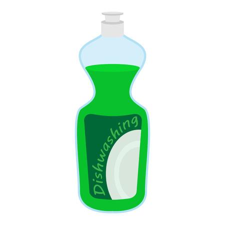 dishwashing liquid: Kitchenware bottle soap cartoon icon isolated on a white background Illustration