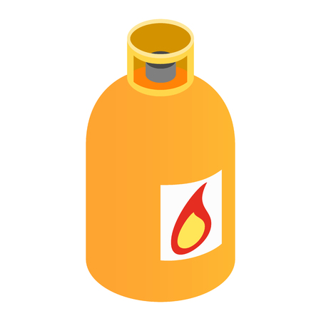 compressed gas: Gas bottle isometric 3d icon. Orange container with flame symbol on a white background