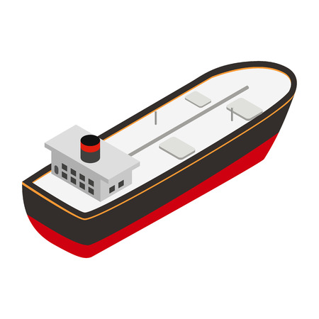 massive: Oil tanker isometric 3d icon. Single symbol isolated on a white background Illustration