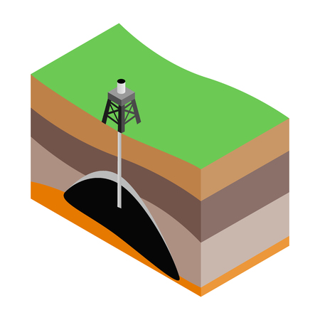 impervious: Oil extraction isometric 3d icon. Scheme. Single illustration isolated on a white background