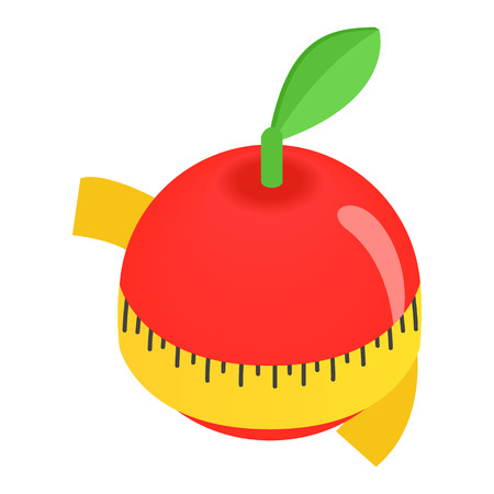 centimeter: Red apple centimeter isometric 3d icon isolated on a white background