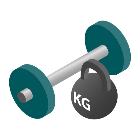 barre: Barbell and weight isometric 3d icon isolated on a white background