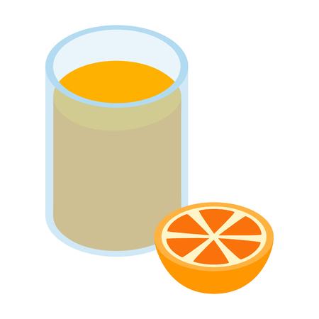 오렌지 주스 3D 아이소 메트릭 아이콘의 유리 흰색 배경에 고립