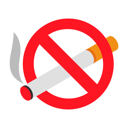 smoking a cigar: No smoking 3d isometric icon isolated on a white background