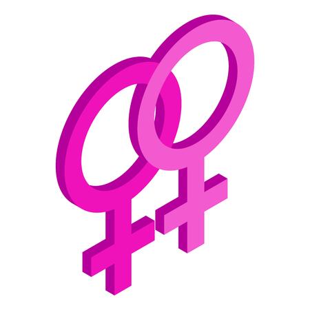 sex symbol: Two female gender symbols isometric 3d icon on a white background Illustration
