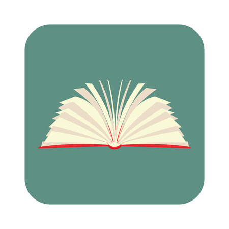 Opened book with pages fluttering flat icon for web and mobile devices