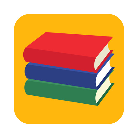 old diary: Horizontal stack of three colored books flat icon for web and mobile devices Illustration