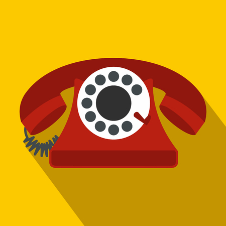 telephone icon: Retro red telephone flat icon on a yellow background Illustration