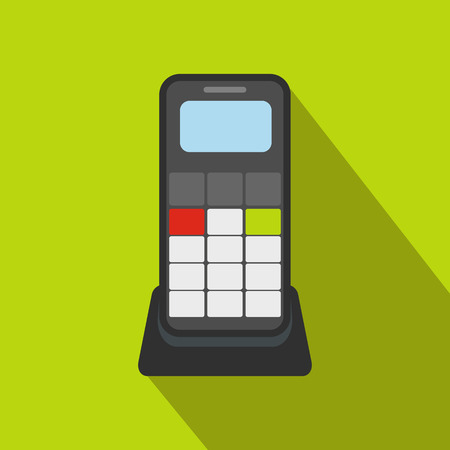 caller: Wireless phone flat icon on a green background
