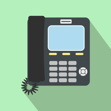 parley: Office phone flat icon on a light green background