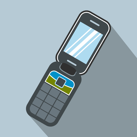 handphone: Clamshell handphone flat icon on a blue background