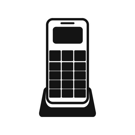 Wireless phone black simple icon isolated on white background Illustration