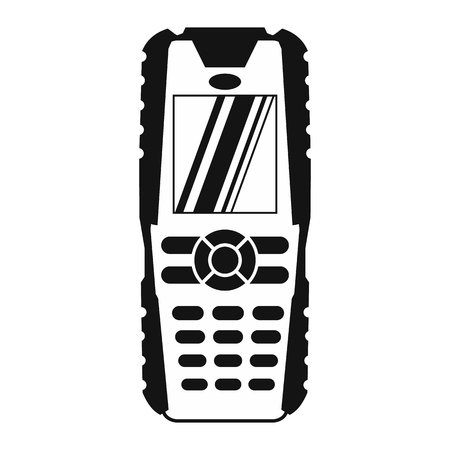 destitution: Mobile phone black simple icon isolated on white background Illustration
