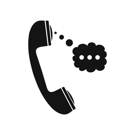 speech cloud: Handset and speech cloud black simple icon Illustration