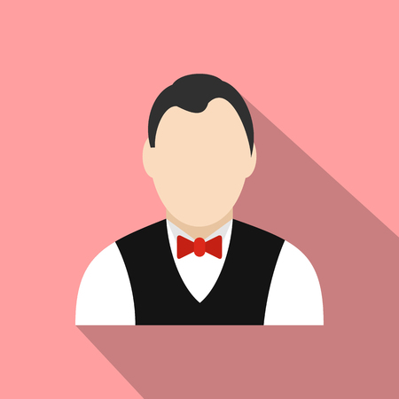croupier: Croupier flat icon on a pink background Illustration