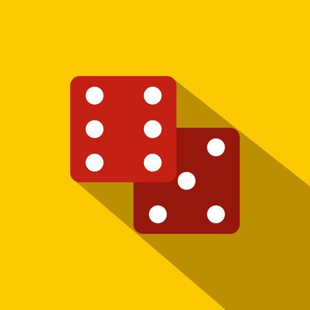 dados: Dados rojos icono plana sobre un fondo amarillo