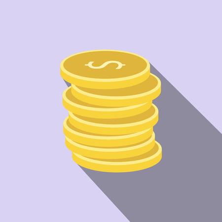 coin stack: Stack of gold coins flat icon on a blue background