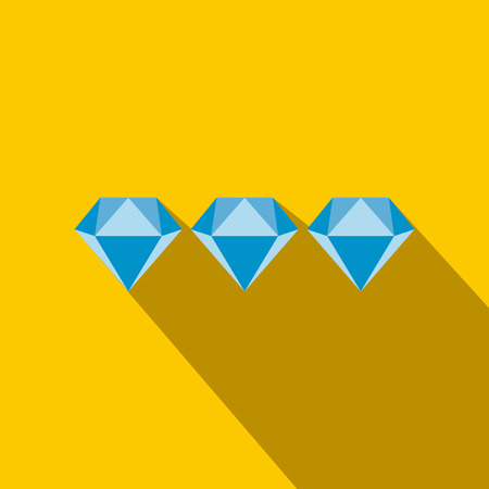 scintillation: Three diamonds flat icon on a yellow background