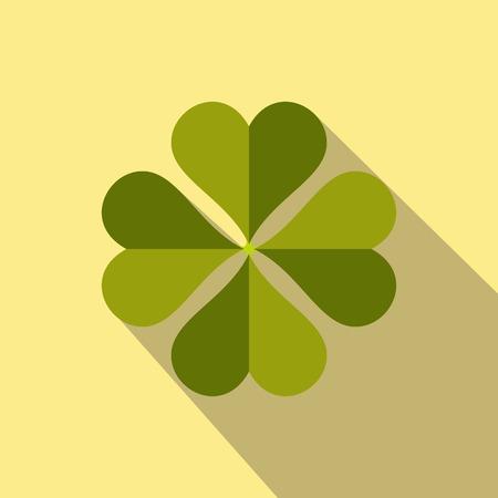 four leaf: Four-leaf clover flat icon on a yellow background