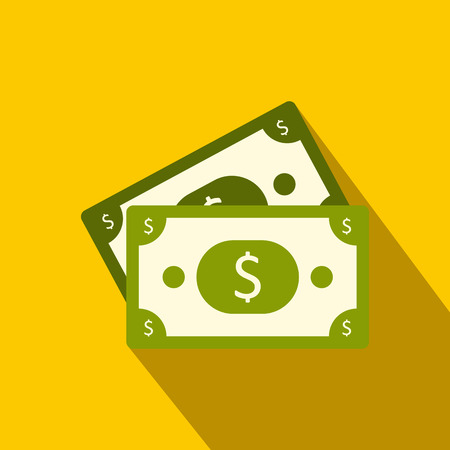 us paper currency: Dollar banknotes flat icon on a yellow background