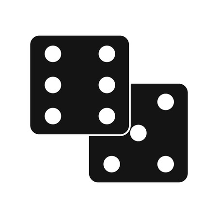 dice: Dice black simple icon isolated on white background