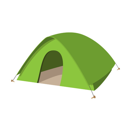 camping tent: Camping tent icon. Green camp symbol isolated on a white background