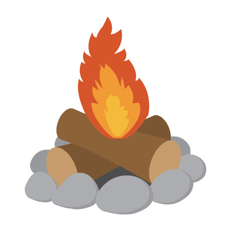 campfire: Campfire cartoon icon isolated on white background Illustration