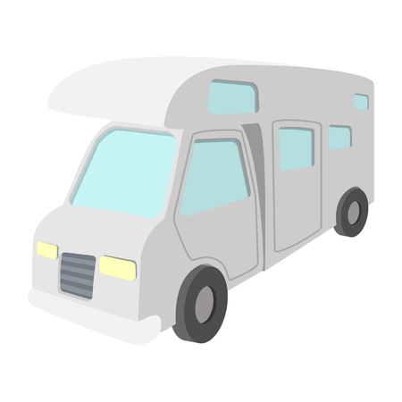 recreational: Mobile home truck cartoon icon. Recreational motor home vehicle, camper van on a white
