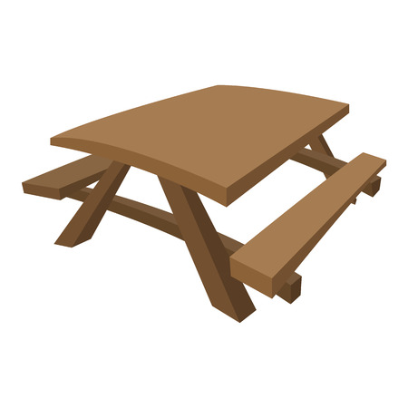 either: Wooden table with benches on either side of the table.   Cartoon icon isolated on a white