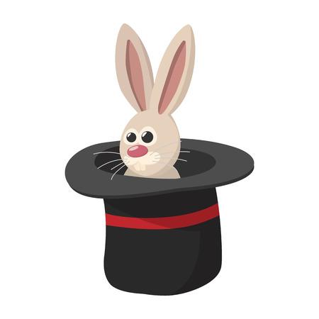 cartoon hat: Rabbit in magic hat cartoon icon. Magic symbol on a white background